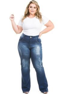020c1304b Calça Confidencial Extra Plus Size Flare Jeans Com Elastano Feminina -  Feminino