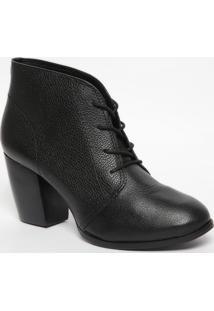 Ankle Boot Em Couro Com Amarração- Preta- Salto: 7,5Jorge Bischoff