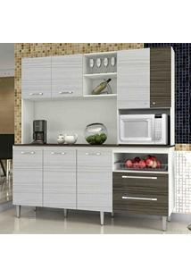 Armário De Cozinha Com Tampo Jade Kit'S Paraná Branco/Rovere/Cp-Dubai