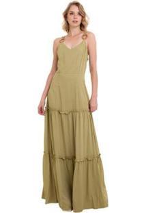 Vestido Manola Longo Feminino - Feminino-Verde Militar