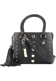 Bolsa Couro Luiza Barcelos Mini Bag Viena Tachas Feminina - Feminino-Preto