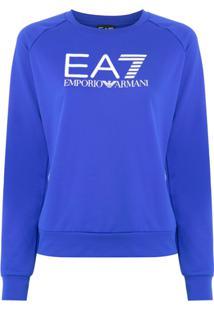 Ea7 Emporio Armani Blusa Moletom Com Logo - Azul