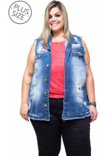 Colete Jeans Xtra Charmy Plus Size Girlane Azul