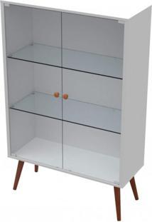 Cristaleira Baixa Com Espelho 2 Portas De Vidro Valentinna Artesano Branco/Marrom Escuro
