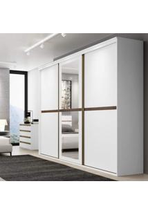 Guarda Roupa Casal Com Espelho 3 Portas 6 Gavetas Sofisticato Belmax Branco