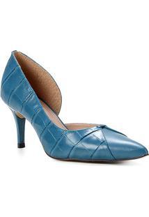 Scarpin Couro Shoestock Salto Médio Croco Recorte - Feminino-Azul Petróleo