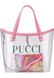Emilio Pucci Bolsa Tote Transparente Com Logo - Neutro