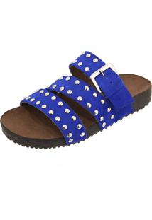 Sandália Birken Em Couro Ravy Store Tachas Azul Royal