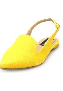 Sapatilha Love Shoes Bico Fino Slingback Juta Amarelo - Kanui