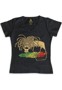 Camiseta Gola V Geek Cool Tees Quadrinhos Leão Jamaica Bob Marley Feminina - Feminino-Preto