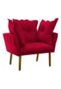 Poltrona Decorativa Londres Suede Vermelho Pés Palito Castanho D'Rossi