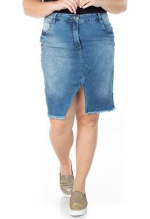 Saia Jeans Ecolife Jeans Midi Com Fenda Azul - Multicolorido - Feminino - Dafiti