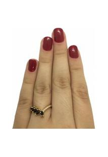 Anel Narcizza Diagonal Com Navetes Onix Banhado No Ouro - A014(1) Multicolorido