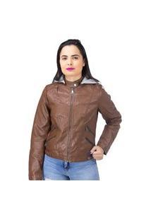 Jaqueta Com Capuz E Zíper Feminina Red Nose Marrom