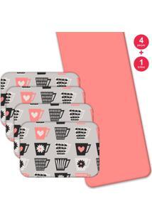 Jogo Americano Love Decor Com Caminho De Mesa Wevans Love Xícaras Kit Com 4 Pçs 1 Trilho