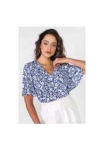 Blusa Lança Perfume Floral Azul/Branca