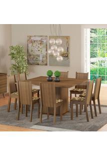 Conjunto Sala De Jantar Madesa Clarice Mesa Tampo De Madeira Com 8 Cadeiras