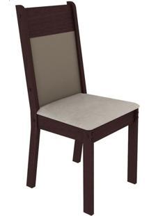 Kit 4 Cadeiras 4280 Madesa - Tabaco/Crema/Pérola