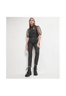 Macacão Longo Jeans Liso Com Bolso Frontal | Blue Steel | Preto | M