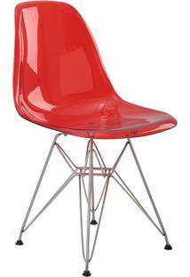 Cadeira Sem Braço Pc Base Madeira Eiffel -Rivatti - Vermelho