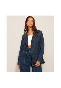 Blazer Jeans Com Bolsos Azul Escuro