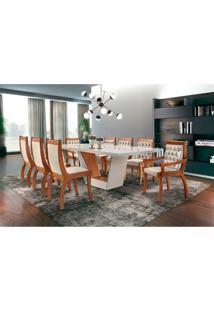 Conjunto De Mesa De Jantar Rubi Com 8 Cadeiras Pérola I Veludo Off White E Creme
