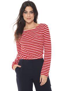 Blusa Banana Republic Slub Cotton-Modal Boat-Neck Vermelha/Branca