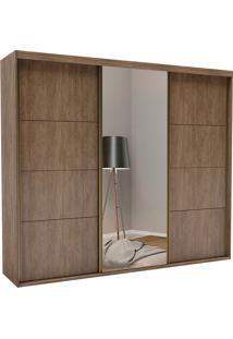 Guarda-Roupa Casal 2,27Cm 3 Portas C/ Espelho Eleganza Pop Fosco-Belmax - Ebano
