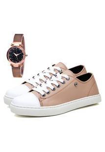 Tênis Sapatênis Casual Elegant Com Relógio Gold Feminino Dubuy 305La Rosa