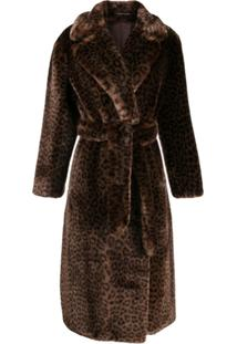 Tagliatore Animal Print Trench Coat - Marrom