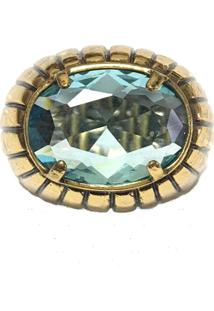 Anel Armazém Rr Bijoux Cristal Swarovski Azul Ouro Velho