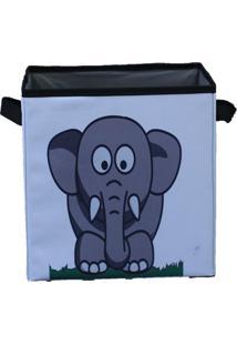 Caixa Organizadora De Brinquedos Organibox Elefante Branca/Preta