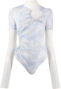 Off-White Body Tie-Dye Com Sobreposição - Azul