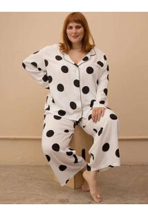 Pijama Clássico Maxi Bolas Plus Size Branco-Exg Br