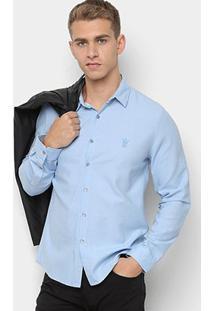 Camisa Opera Rock Manga Longa Básica Masculina - Masculino-Azul Claro