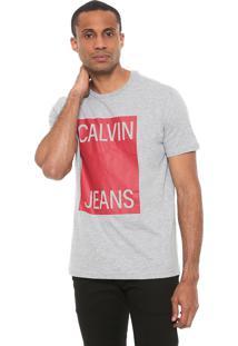 Camiseta Calvin Klein Jeans Logo Cinza