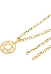 Pingente Estrela De Davi Com Corrente Grumet Tudo Jóias Folheado A Ouro 18K Dourada