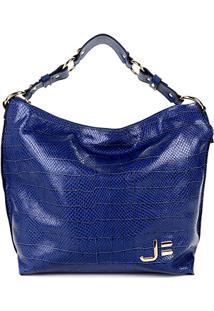 Bolsa Couro Jorge Bischoff Shopper Canoa Argolas Animal Mix Feminina - Feminino-Azul Escuro