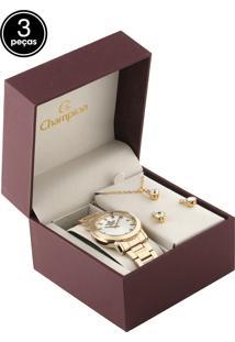 Kit 3 Pçs Relógio Champion Cn26618A Dourado