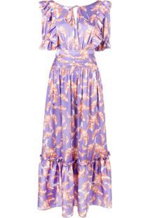 Three Floor Vestido Com Estampa Floral E Babados - Roxo