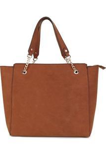 Bolsa Couro Colcci Tote Shopper Leather Styler Feminina - Feminino-Caramelo