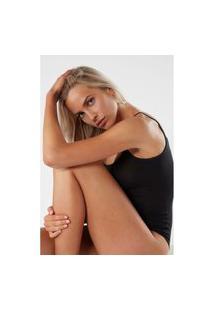 Body Feminino Sem Mangas De Alças Finas Em Micromodal - Preto G