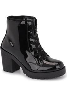 Bota Cano Curto Cr Shoes Tratorada Verniz Feminina - Feminino-Preto