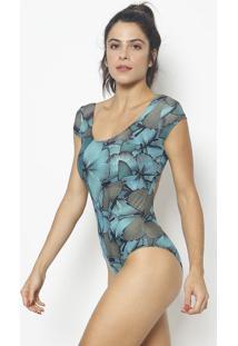 Body Com Vazado & Elã¡Stico- Azul & Preto- Patrapatra
