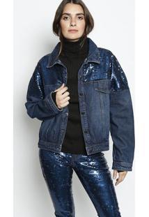 Jaqueta Jeans Com Paetês- Azul Escuro & Azul- Morenamorena Rosa