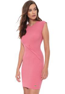 Vestido Triton Curto Recortes Rosa