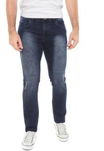 Calça Jeans Fiveblu Slim Efeito Azul-Marinho