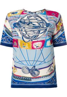 Etro Blusa De Seda Estampada - Azul