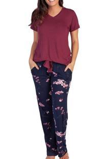 Pijama Feminino Podiun 215115 Floral-Orquidea/Vinh