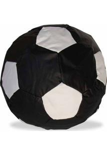 Puff Infantil Ball Futebol Courino Preto/Branco - Stay Puff